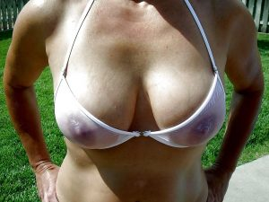 Hot wife in Sheer White Bikini
